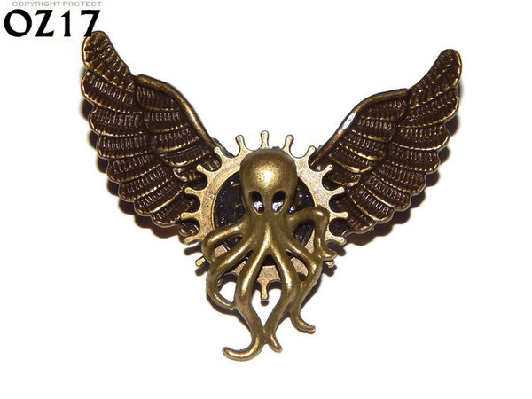 Badge / Brooch, OZ17, Octopus bronze (SML), Bronze Owl Wing back, (52mm wide approx)