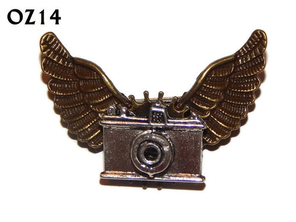 Badge / Brooch, OZ14, Camera silver, Bronze Owl Wing back, (52mm wide approx)