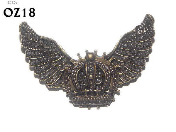 Badge / Brooch, OZ18, Crown bronze, Bronze Owl Wing back, (52mm wide approx)