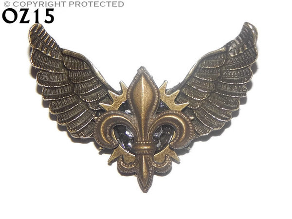 Badge / Brooch, OZ15, Fleur de Lis bronze, Bronze Owl Wing back, (52mm wide approx)