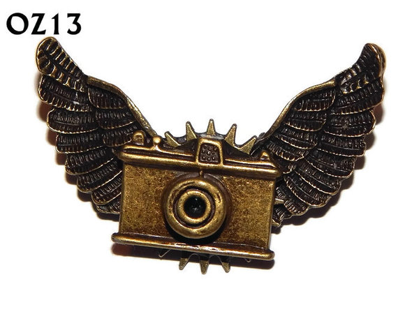 Badge / Brooch, OZ13, Camera bronze, Bronze Owl Wing back, (52mm wide approx)