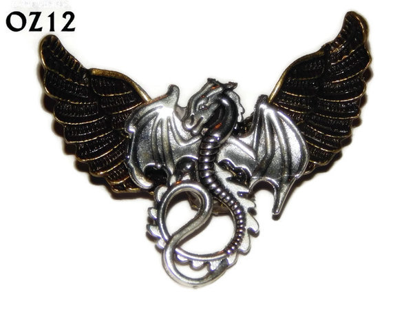 Badge / Brooch, OZ12, Dragon (flat), Bronze Owl Wing back, (52mm wide approx)
