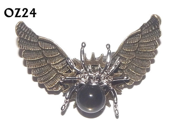 Badge / Brooch, OZ24, Spider black / silver, Bronze Owl Wing back, (52mm wide approx)