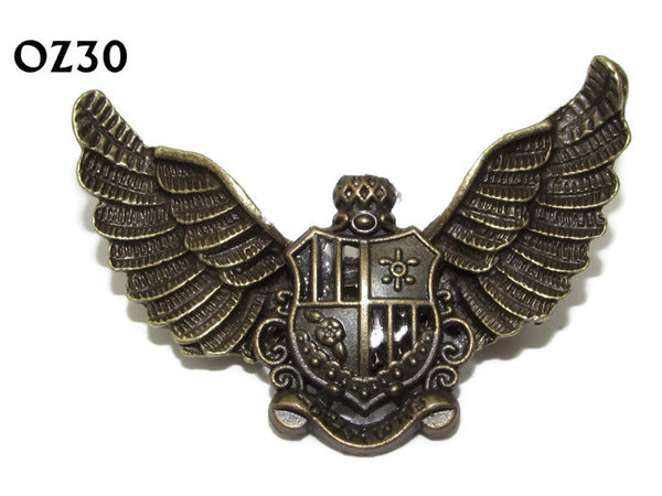 Badge / Brooch, OZ30, Crest bronze, Bronze Owl Wing back, (52mm wide approx)
