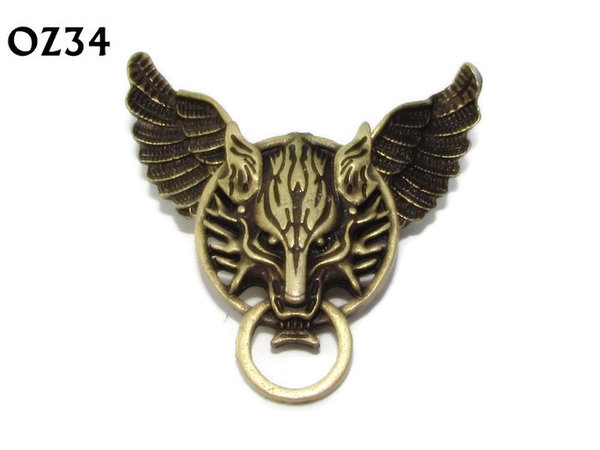Badge / Brooch, OZ34, Wolf bronze, Bronze Owl Wing back, (52mm wide approx)