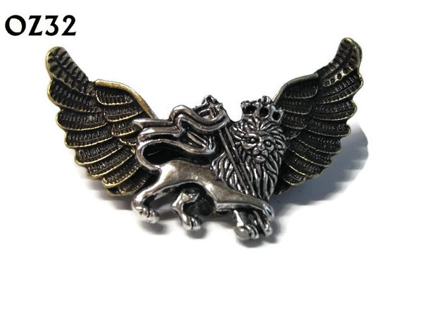 Badge / Brooch, OZ32, Lion silver, Bronze Owl Wing back, (52mm wide approx)