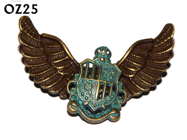 Badge / Brooch, OZ25, Crest green, Bronze Owl Wing back, (52mm wide approx)