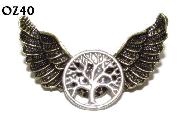 Badge / Brooch, OZ40, Tree, Bronze Owl Wing back, (52mm wide approx)