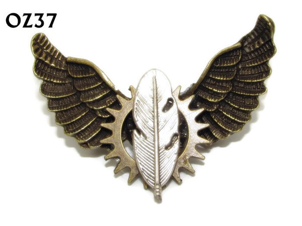 Badge / Brooch, OZ37, Feather / Quill, Bronze Owl Wing back, (52mm wide approx)