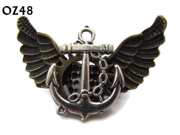 Badge / Brooch, OZ48, Anchor silver, Bronze Owl Wing back, (52mm wide approx)