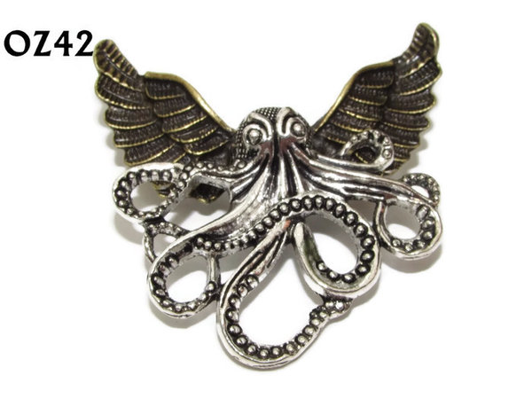 Badge / Brooch, OZ42, Octopus silver (LG), Bronze Owl Wing back, (52mm wide approx)
