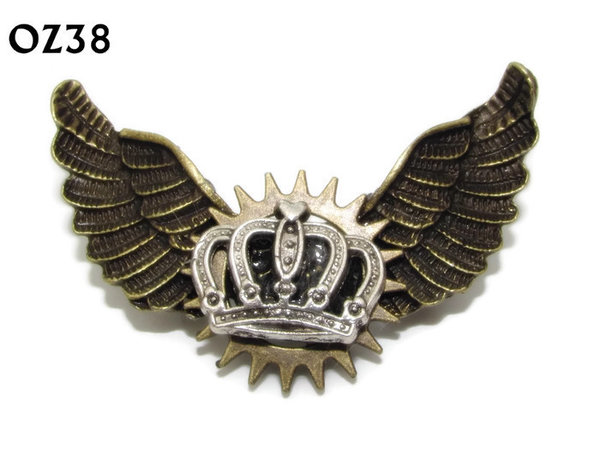 Badge / Brooch, OZ38, Crown silver, Bronze Owl Wing back, (52mm wide approx)
