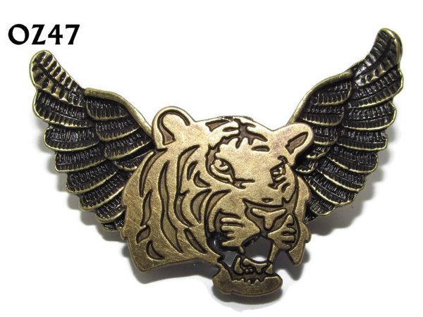Badge / Brooch, OZ47, Tiger, Bronze Owl Wing back, (52mm wide approx)