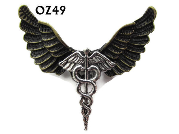Badge / Brooch, OZ49, Caduceus silver, Bronze Owl Wing back, (52mm wide approx)