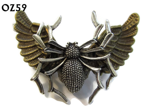 Badge / Brooch, OZ59, Spider silver, Bronze Owl Wing back, (52mm wide approx)