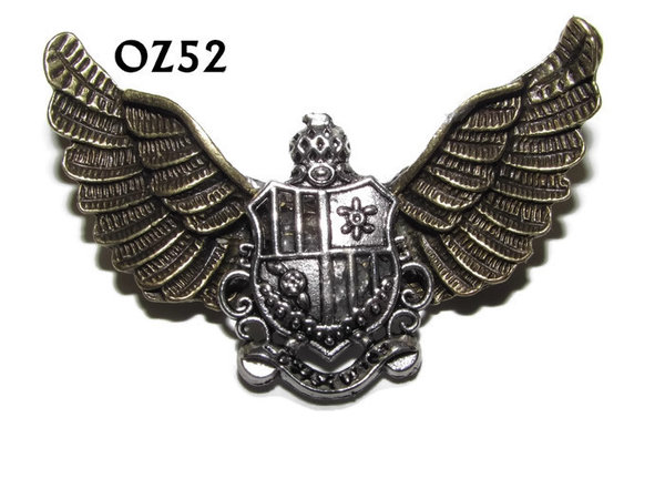 Badge / Brooch, OZ52, Crest silver, Bronze Owl Wing back, (52mm wide approx)