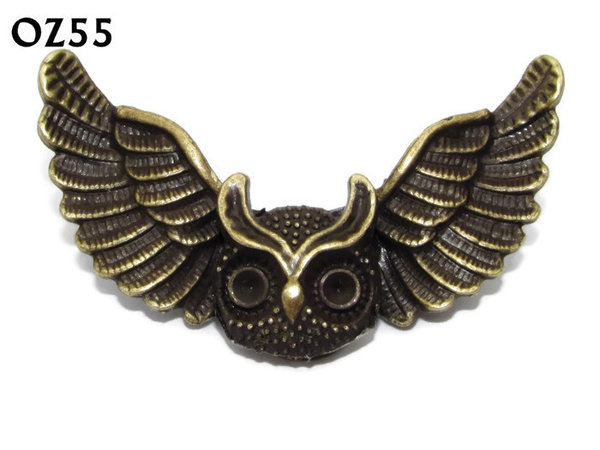 Badge / Brooch, OZ55, Owls Head, Bronze Owl Wing back, (52mm wide approx)