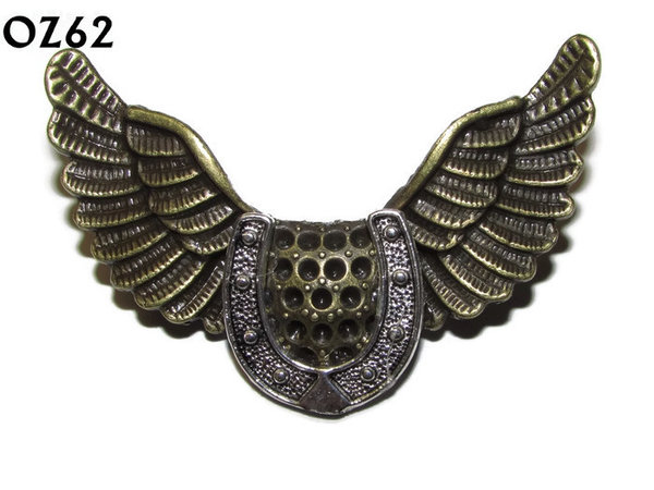 Badge / Brooch, OZ62, Horseshoe, Bronze Owl Wing back, (52mm wide approx)