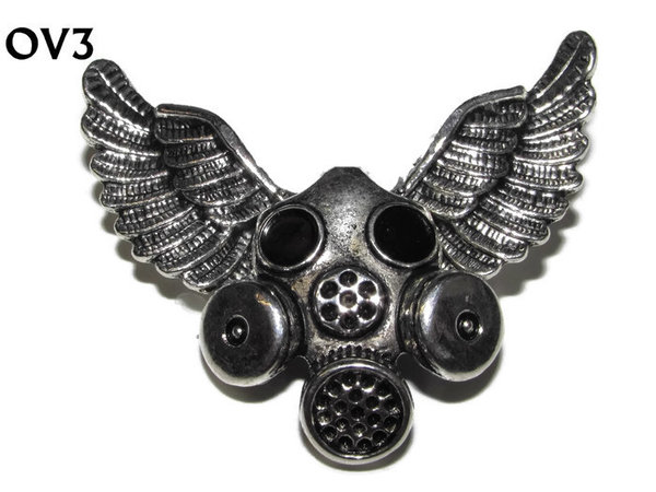 Badge / Brooch, OV03, Gas Mask, Silver Owl Wing back, (52mm wide approx)