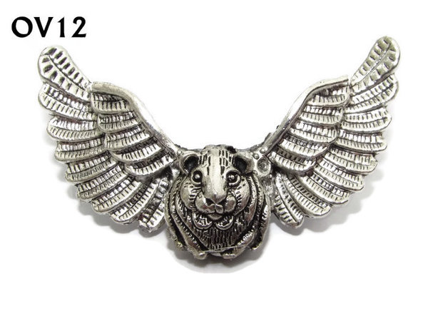 Badge / Brooch, OV12, Hamster, Silver Owl Wing back, (52mm wide approx)