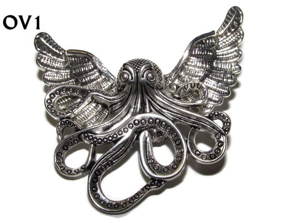 Badge / Brooch, OV01, Octopus (LG) , Silver Owl Wing back, (52mm wide approx)