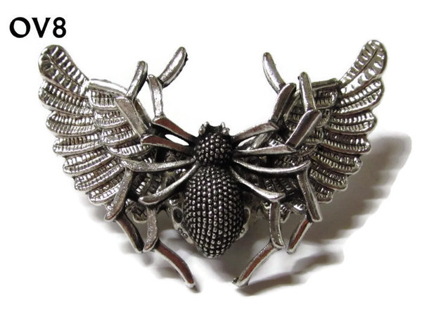 Badge / Brooch, OV08, Spider silver, Silver Owl Wing back, (52mm wide approx)