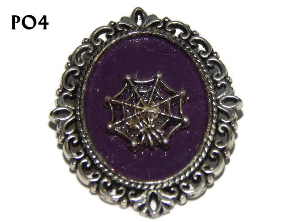 Badge / Brooch, PO04, Cobweb, Oval Backing, (30x37mm approx)