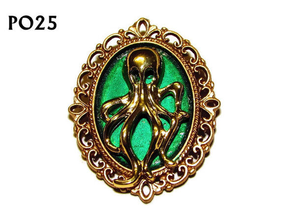 Badge / Brooch, PO26, Octopus, Oval Backing, (30x37mm approx) - gold aqua - gold