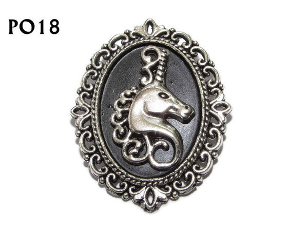 Badge / Brooch, PO18, Unicorn head, Oval Backing, (30x37mm approx)