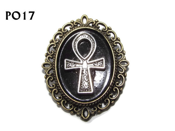 Badge / Brooch, PO17, Ankh, Oval Backing, (30x37mm approx) - bronze back