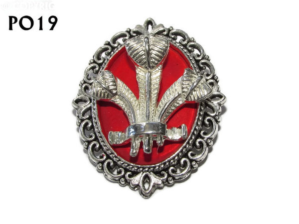 Badge / Brooch, PO19, Prince of Wales feather oval backing (30x37mm approx) - silver on red