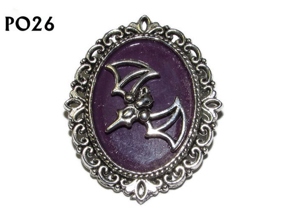 Badge / Brooch, PO26, Bat, Oval Backing, (30x37mm approx)