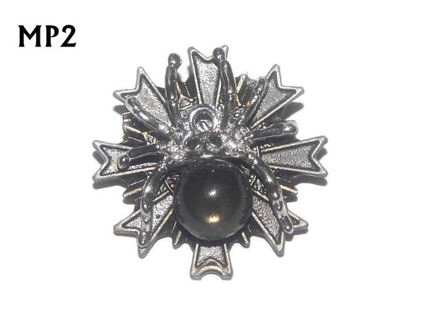 Badge, MP02, Silver Spider , Multi-pointed Bronze backing, (32x32mm)
