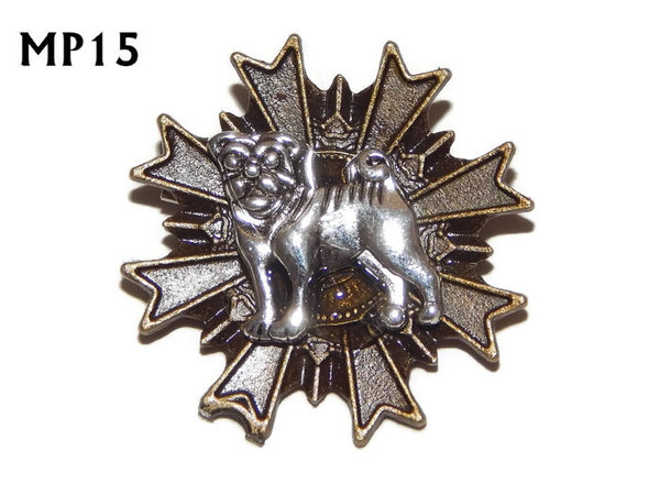 Badge, MP15, Silver Pug, Multi-pointed Bronze backing, (32x32mm)
