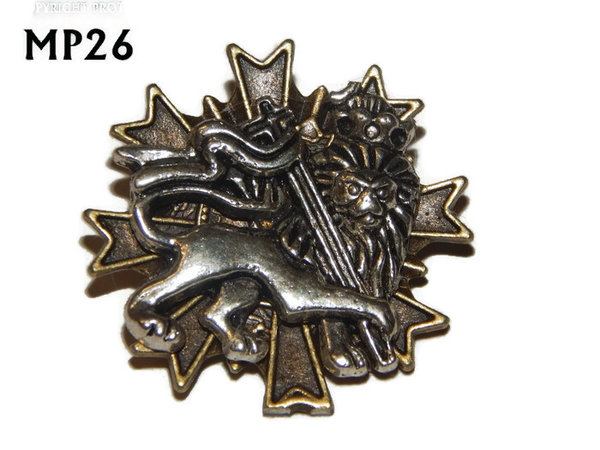 Badge, MP26, Silver Lion (lying) , Multi-pointed Bronze backing, (32x32mm)