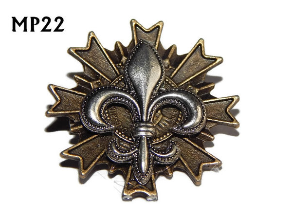 Badge, MP22, Silver Fleur de Lis , Multi-pointed Bronze backing, (32x32mm)