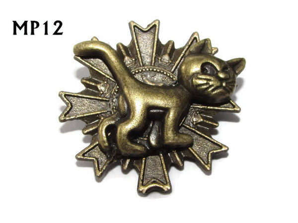 Badge, MP12, Bronze Cat, Multi-pointed Bronze backing, (32x32mm)