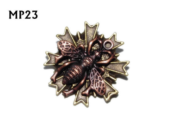 Badge, MP23, Copper Bee, Multi-pointed Bronze backing, (32x32mm)