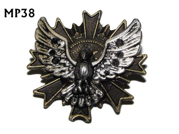 Badge, MP38, Silver Bird, Multi-pointed Bronze backing, (32x32mm)
