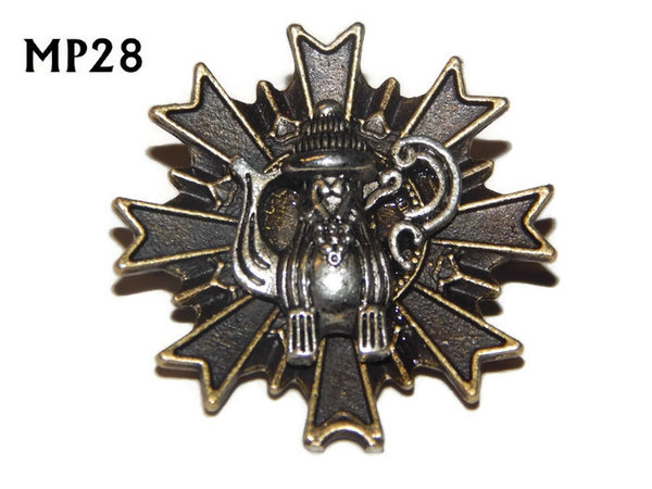 Badge, MP28, Silver Coffee pot, Multi-pointed Bronze backing, (32x32mm)