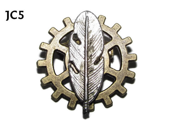 Badge, JC05, Silver Feather,Small Bronze Gear,(25mm dia.)