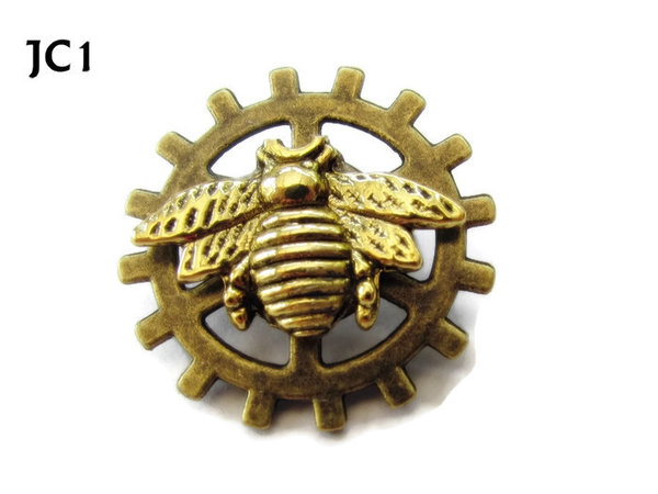 Badge, JC01, Gold Bee ,Small Bronze Gear,(25mm dia.)