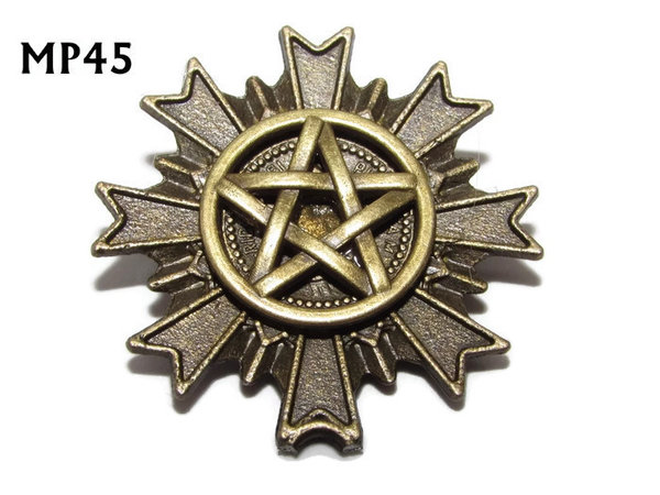 Badge, MP45, Bronze Pentagram , Multi-pointed Bronze backing, (32x32mm)