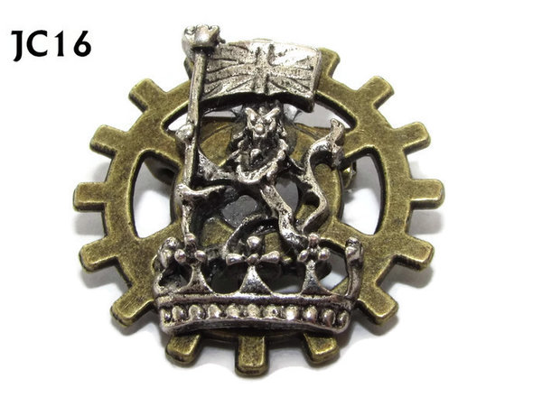 Badge, JC16, Silver Lion,Small Bronze Gear,(25mm dia.)