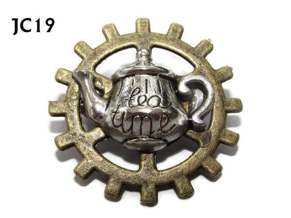 Badge, JC19, Silver Teapot, Small Bronze Gear,(25mm dia.)