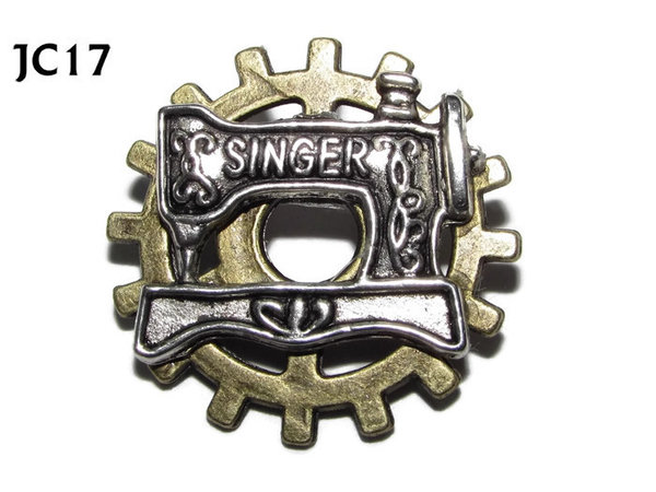 Badge, JC17, Silver Sewing Machine ,Small Bronze Gear,(25mm dia.)