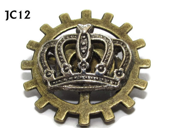 Badge, JC12, Silver Crown ,Small Bronze Gear,(25mm dia.)
