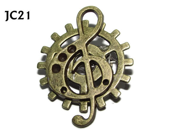 Badge, JC21, Bronze Clef, Small Bronze Gear,(25mm dia.)
