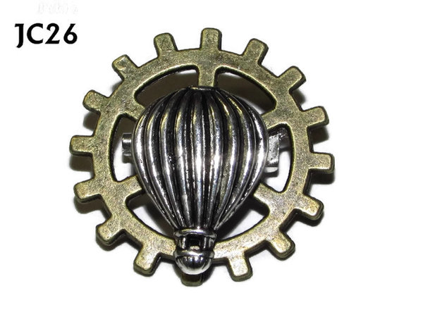Badge, JC26, Silver Balloon, Small Bronze Gear,(25mm dia.)