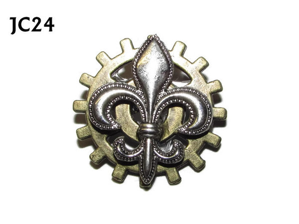 Badge, JC24,Silver Fleur de Lis, Small Bronze Gear,(25mm dia.)